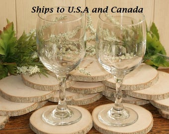 Ships To CANADA: Rustic Drink Wood Coasters-200 Maple Wooden Slices 3.5 to 4 inch Diameter 3/8 Thick Wood Tree Slices-Thick Coasters