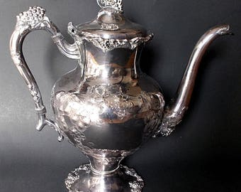 Antique Barbour Hand Chased Silver Plate Coffee Pot Grape Vine Pattern  5336