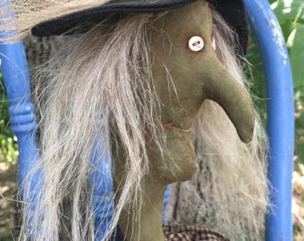 Made to Order~Primitive Grungy Folk Art~Haggie Lou Witch Doll w/Cat~Hafair Team