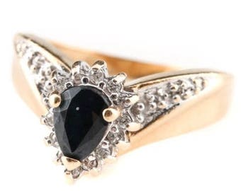 Vintage 14K Yellow Gold 0.82 CT Sapphire and Diamond Ring With White Gold Accents