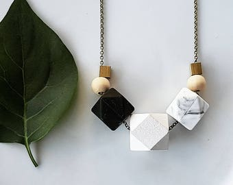 Evie Necklace   Geometric Beads   Black White Marble