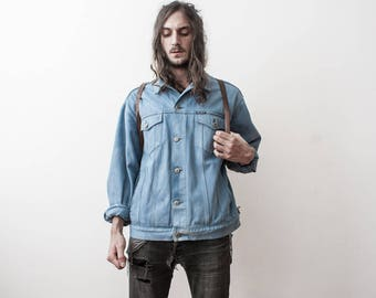 Denim Jacket 90s Autumn Outerwear Grunge Aged Blue Jeans Jacket Veste en Jean Bleu Evening Jacket Fall Season