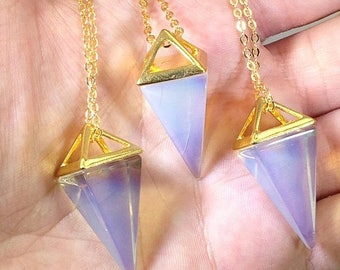 10% off CIJ SALE Opalite Necklace Triangle Necklace Opalite Pendulum Gold Necklace Geometric Necklace Gemstone Necklace Gold Dipped Necklace