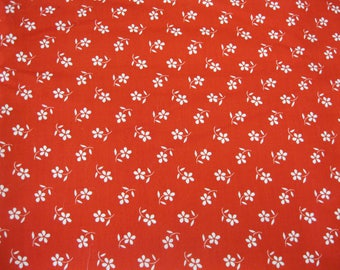 "100% Cotton 3 Yds x 44"" W red and white floral Fabric"