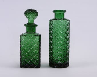 Pair of vintage Italian patterned decanters