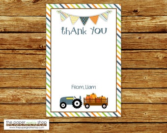 Blue Tractor and Pumpkin Party Thank You Card | Blue Tractor and Pumpkin Birthday Party Thank You |  Pumpkin Party