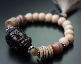 Ebony wood Buddha bracelet gemstone stretch bracelet boho tassel bracelet spiritual Zen stacking bracelet neutral colors summer bracelet
