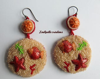 Embroidered earrings (the sea)
