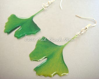 Ginkgo Leaf earrings, transparent 2 different shades of glasslike green, resin and acetate, ear hook, clip on and latch back available