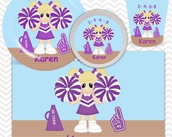 Cheer Plate, Bowl, Cup, Placemat - Personalized Cheerleader Dinnerware for Kids - Custom Tableware