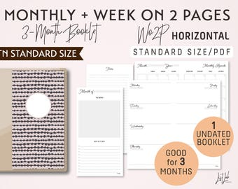 STANDARD Size Monthly-Week on 2 Pages Horizontal Printable Booklet Insert - Good for 3 Months - fits Traveler's Notebook Regular Size