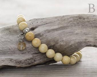 Ivory Jade elastic bracelet (yellow marbled)