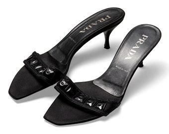 vintage 90s PRADA beaded embellished jet satin kitten heel slides sandals