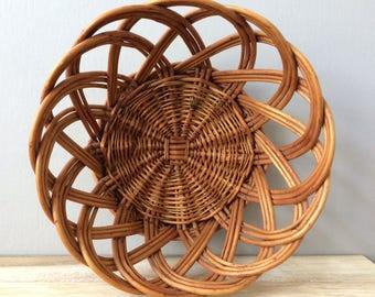 vintage woven rattan basket / planter