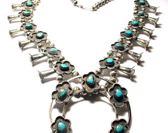 Reserved Layaway 2 of 2 - FINAL - Navajo Sterling Silver Large Turquoise Squash Blossom Necklace - Native American - Weight 139 Grams