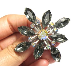 Beautiful Rhinestone Brooch - Smoky Glass with Rhinestones - Floral Brooch Smoke Color - Clear and Graffiti Rhinestones # 1585