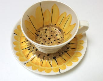 Vintage Vera Neumann Coffee Cup and Saucer, Vera Sunflower Cup and Saucer, Mid Century Modern Decor, 1960s