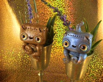 Vintage Lavender Robot Cups // sculpture cute robotic nature kawaii robots antique goblet clay