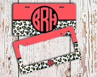 Cute Monogrammed license plate or frame , Cheetah animal print pattern coral , Preppy Monogram car tag , Bicycle license plate bike (9965)