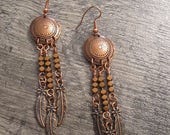 CLOSING OUT SALE Copper Concho Earrings with Rose Gold Hematite Gemstones