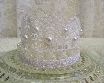 Newborn Lace Crown with Pearls, Maternity Photo Prop, Cake Topper, Princess Crown, Birthday Crown, Costume Accessory, Ready to Ship!