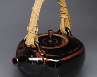 Clay Teapot Black Temmoku with Handmade Cane Handle G90