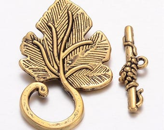 Toggle Clasps Antiqued Gold Bar Clasps Grape Leaf Clasps Gold Clasps WHOLESALE Clasps Findings 5 Sets