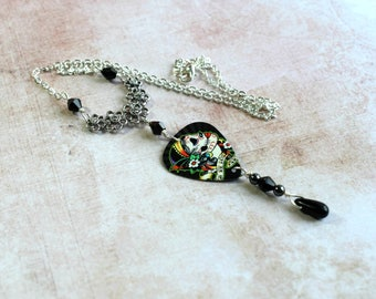Day of the Dead Necklace, Sugar Skull Necklace, Sugar Skull Jewelry, Goth Jewelry, Alternative Jewelry, Horror Gifts, Plectrum Jewellery