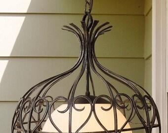 ON SALE Vintage 1967 Moe Light Mediterranean Hanging Light Fixture, Moorish Style Wrought Iron, Pendant, Chandelier, Mid Century, Spanish Re