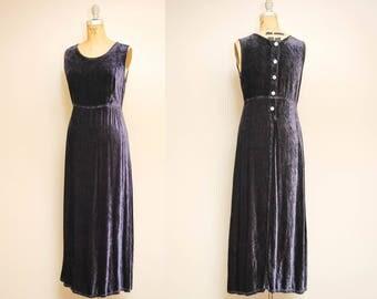 Vintage Blue Velvet Maxi Dress / 90s Sleeveless Long Goth Dress / Navy Velvet Button Back Dress / Scoop Neckline