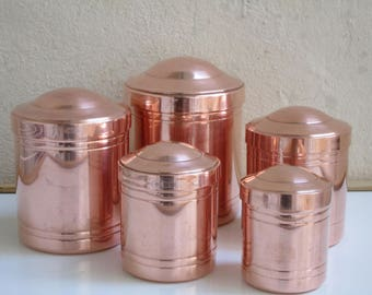 Set 5 Vintage French Copper Tin Lined Canisters - Very good Condition - Matching set of measuring cups also for sale - French Kitchen