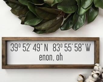 Customizable City Latitude Longitude Sign
