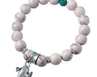 ON SALE White Howlite Beaded Bracelet with Genie Lamp Charm