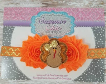 Thanksgiving Headband, Turkey Headband, Fall Headband, Baby Headband, Orange Baby Headband, Infant Headband, Newborn Headband, Fall Baby