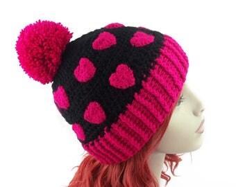Black & Pink Pom Pom Hat, Heart Print Hat, Womens Beanie, Girls Hat, Pom Pom Beanie, Crochet Beanie, Cute Beanie, Bobble Hat, Pink Beanie