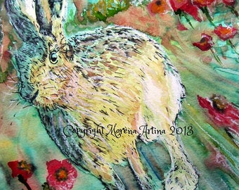Hare Skipping Through Poppies Print of  Watercolour and Ink Painting on Watercolour Paper