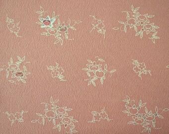 Coral Pink Yuzen Ume Tachibana Vintage Japanese silk kimono fabric