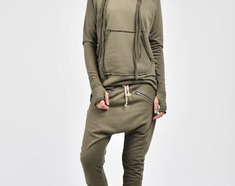 NEW Loose Casual  Military Green  Drop Crotch Harem Pants / Extravagant Navy Pants / Side zipper pockets / Unique Pants by AAKASHA A05313