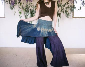 READY TO SHIP Gypsy Traveler Skirt handmade hemp and cotton blend dyed with herbs
