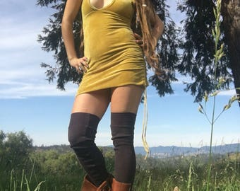 READY TO SHIP Thermal Leg Warmers handmade in hemp and cotton blend dyed with herbs