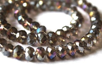 Pretty Gray AB Rondell Faceted Crystal Beads