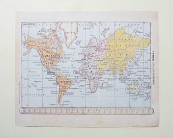World map download etsy 8x10 vintage world map instant download digital print 1920s french map scrapbooking supply wall gumiabroncs Gallery