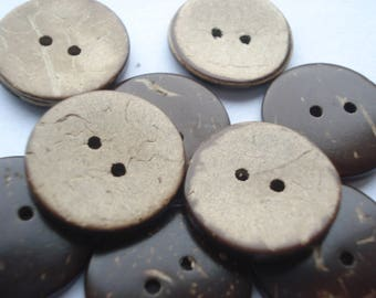 20mm Coconut Shell Sewing Buttons, 2-Hole Round Brown Buttons, Pack of 20 Coconut Buttons, CO02