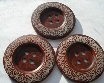 60mm Wooden Sewing Buttons, 4-Hole Round Reddish Brown S Pattern Wooden Buttons, Pack of 4 Buttons, 50p Buttons!! W615