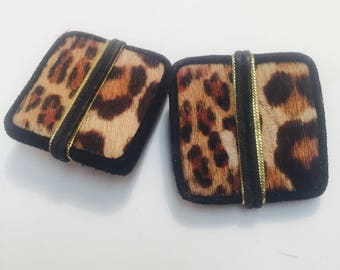 Vintage leather and fur clip earrings