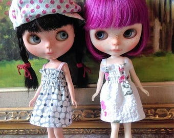 2 pieces of smocking braces dresses for blythe doll