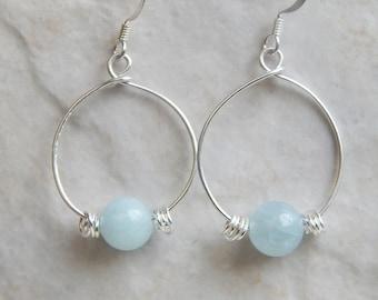Aquamarine Earrings, Silver Hoop Earrings, Gold Hoop Earrings, Sterling Silver Hoops, Earrings, Bridesmaid Gifts,  Gift Ideas