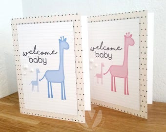Welcome Baby - handmade greeting card - roubded edges, elephant family and hearts
