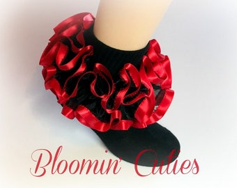 Black Organza with Red Satin Trim Newborn Infant Toddlers and Girls SUPER RUFFLE Socks by Bloomin Cuties Boutique
