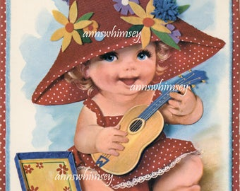 Adorable Baby Girl Strumming Her Guitar, Art Print for Baby's Room #597